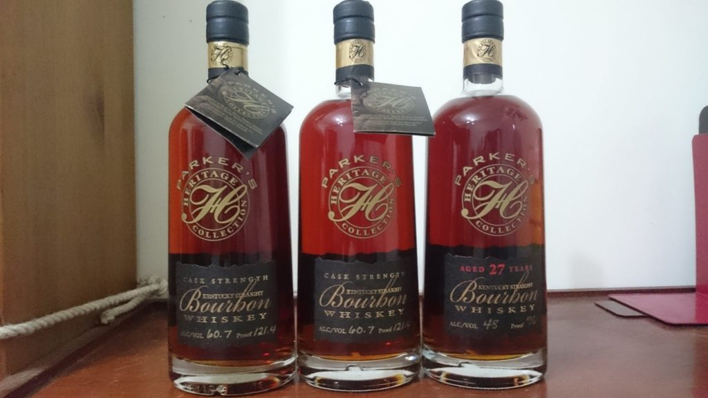 Parker's Heritage 1st Ed. (Cask Strength) Export Proof (bottles on left)<br />Photo courtesy of Shannon Jeng